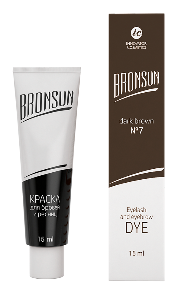 Eyelash and eyebrow dye Bronsun, dark brown  №7 15 ml